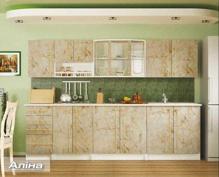 """Кухня """"Алина"""" 2,0 м. мрамор, ольха"""